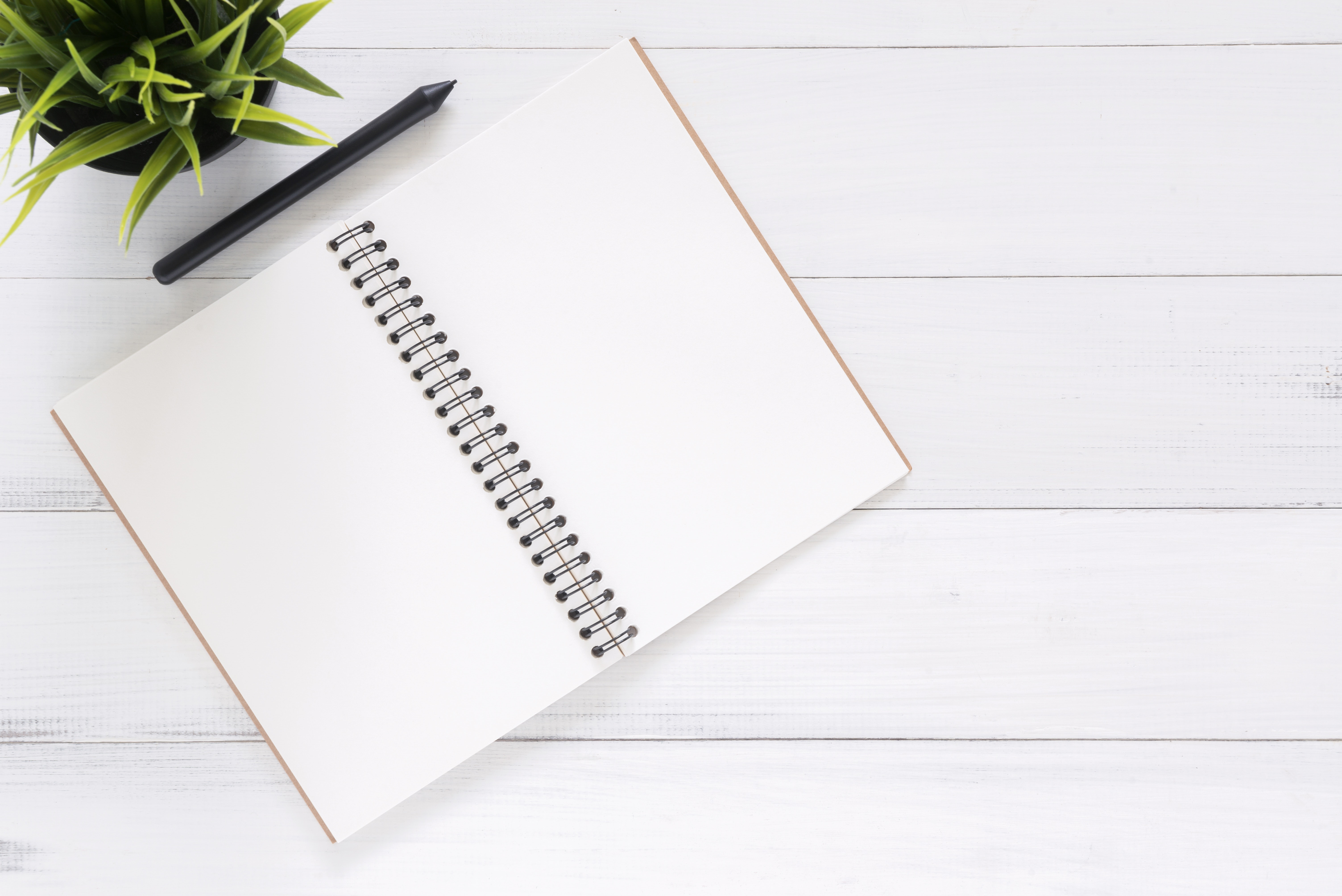 Open black notebook with pen on top ready to plan